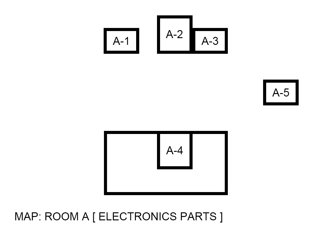 Image, map. Room A(A1~A5). Electronic parts